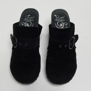 Dansko Suede Black Clogs